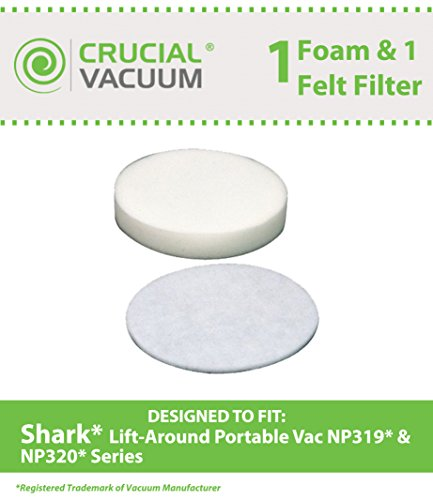 Crucial Vacuum Shark Navigator Lift-Around Portable NP319 and NP320 Foam and Felt Filters, Part # XFF318 (Shark Lift Around Vacuum compare prices)