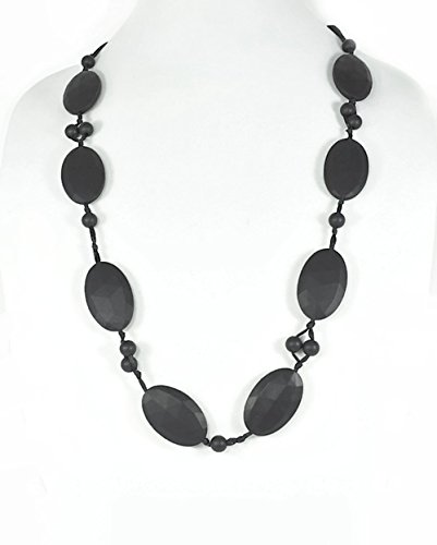 "Silli Me Jewels ""Date Night"" - 31"" Elegant Teething Necklace with Larger Oval Beads and 9mm Beads for Baby to Chew (Black)"
