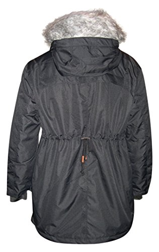 Pulse Women's Plus Size Extended Anorak Parka Insulated Xena (1X (16/18), Black)