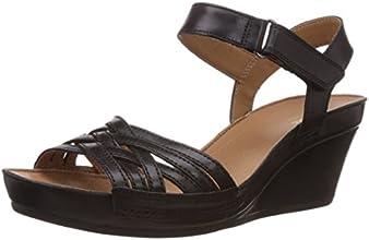 Clarks Rusty Wish, Sandales compensées femme - Noir (Black Leather), 39 EU (5.5 UK)