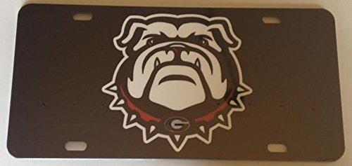 Black Georgia Dawg Mirrored Car Tag - UGA Bulldog License Plate (Bulldog Tag compare prices)