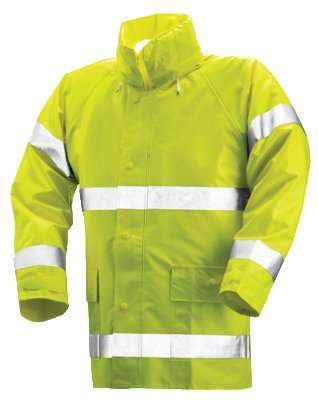 TINGLEY-RUBBER-High-Visibility-Jacket-Lime-Yellow-PVC-On-Polyester-Medium