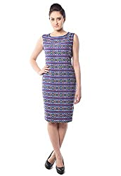 iamme Blue Geometric Pattern Dress With Sleeveless and Side Zipper