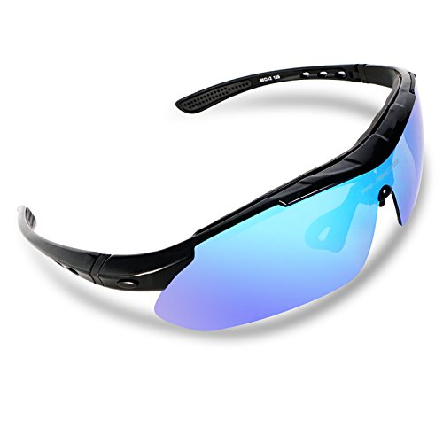 RIVBOS 806 POLARIZED Sports Sunglasses with 5 Set Interchangeable Lenses for Cycling (Upgrate TR90 Black ice lens)