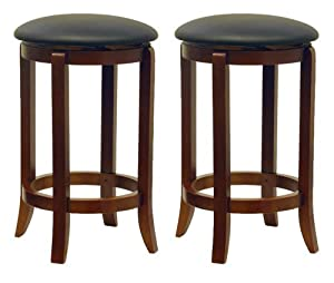 Winsome Wood 24-Inch Set of Two Black PVC Seat Bar Stools, Walnut by Winsome Wood