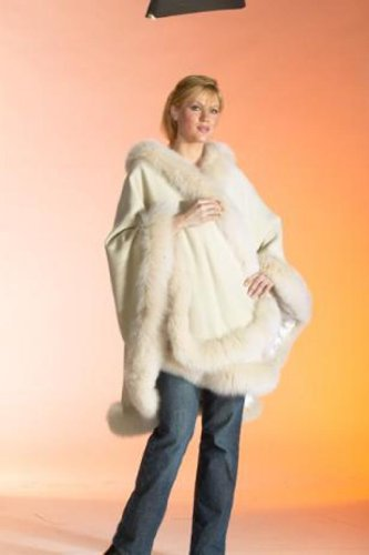 CASHMERE CAPE WITH FUR (FOX) TRIM from CASHMERE PASHMINA GROUP (IVORY)