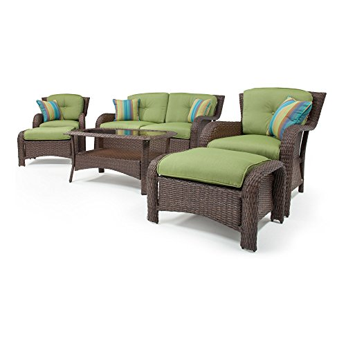 Sawyer 6 Piece Deep Seating Set (Wicker, Green) by La-Z-Boy Outdoor picture