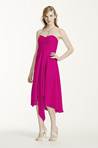 Strapless Chiffon Short Bridesmaid Dress Style F12284, Begonia, 2