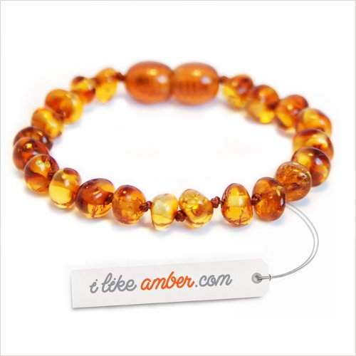 14.5cm Genuine Baltic Amber Teething Bracelet Anklet Child Baby size Cognac color Baroque Beads