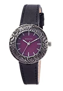 Kahuna Women's Quartz Watch with Black Dial Analogue Display and Black Leather Strap KLS-0215L