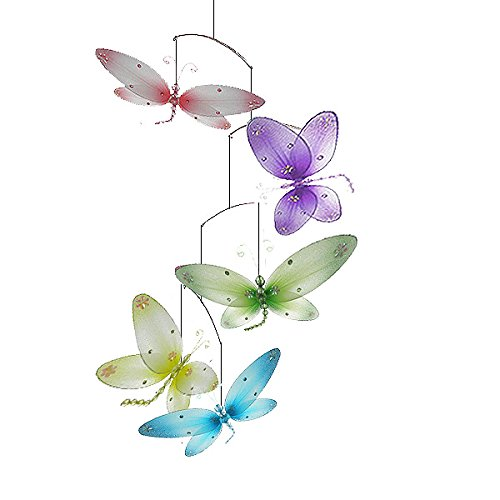 The Butterfly Grove Taylor Dragonfly Mobile Decoration 3D Hanging Mesh Nylon Decor, Multicolored