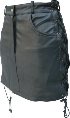 Women's Skirt in Lambskin Leather w/ Side Laces