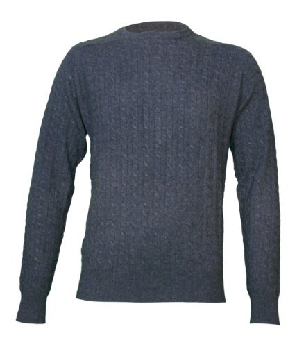Noluur Mens Blue Cashmere Cable Stitch Jumper Size S