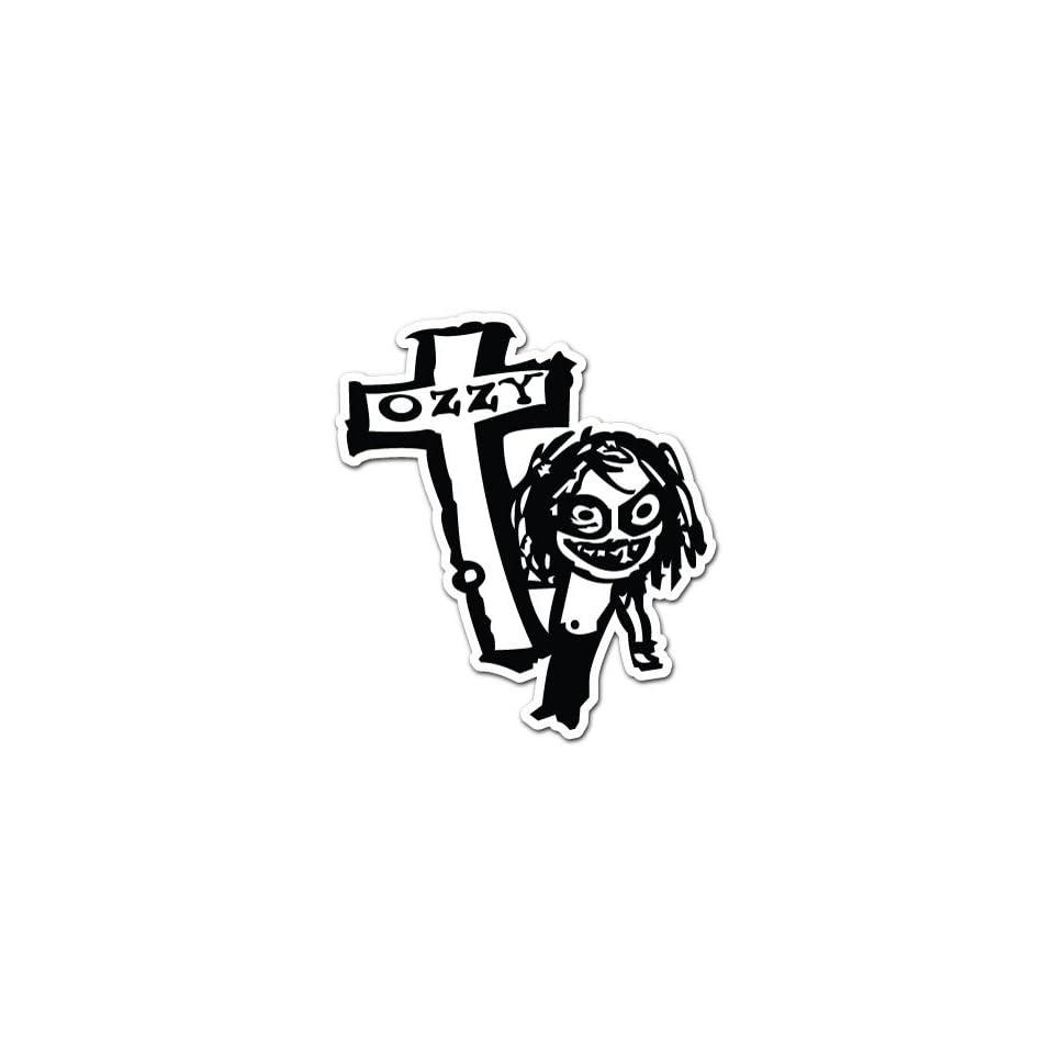 Ozzy Osbourne Cross Car Bumper Sticker Decal 4.5x4