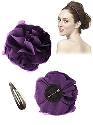 Women's Pin-on Lux Chiffon Flower with Pin Barrette and Matching Headband