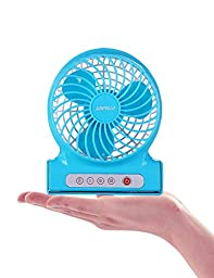 SUNPOLLO Desktop Personal Mini USB Portable Fan 3-Speed Table Desk Handheld Rechargeable 4-inch Fans(Quiet Design, Lithium-ion Battery Charged) for Travel, Home, Office(Blue)