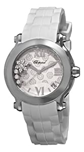 Chopard Women's 278475-3015 Happy Sport Round Snowflake Diamond White Dial Watch from Chopard