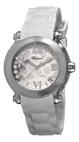 Chopard Women's 278475-3015 Happy Sport Round Snowflake Diamond White Dial Watch