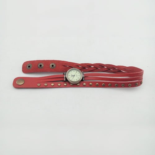 Woman Fashion High Quality Roma Number Pu Leather Wrist Watch Round Rivet Quartz Watch (Red) front-45432