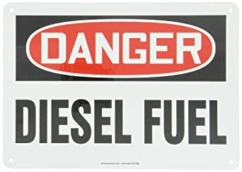 "Accuform Signs MCHL226VA Aluminum Safety Sign, Legend ""DANGER DIESEL FUEL"", 10"" Length x 14"" Width x 0.040"" Thickness, Red/Black on White"
