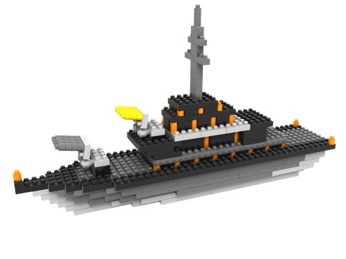 Micro Blocks - Battleship Model - Small Building Block Set - Nanoblocks Compatible - Not Lego Compatible