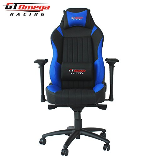 GT Omega EVO XL Racing Office Chair Black and Blue Leather Esport Gaming Seat