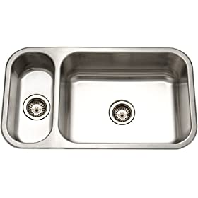 Houzer EHD-3118-1 Elite 31-1/2-by-17-15/16-Inch 80/20 Undermount Double Bowl Stainless Steel Sink
