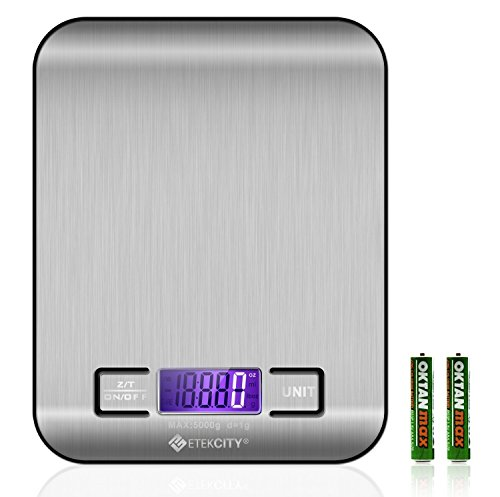 Etekcity Digital Multifunction Food Kitchen Scale,11lb 5kg, Silver, Stainless Steel (Batteries Included)
