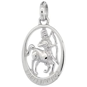 Sterling Silver SAGITTARIUS Zodiac Sign Pendant Charm with 1.4mm Box Chain 30 inch