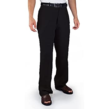 Flat front 100% Linen Pants in Black