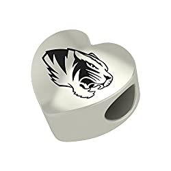 Missouri Tigers Heart Bead Fits Most Pandora Style Charm Bracelets