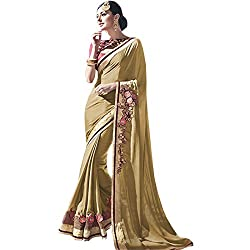 Vasu Saree Baronial Embroidered Work Beige Designer Saree