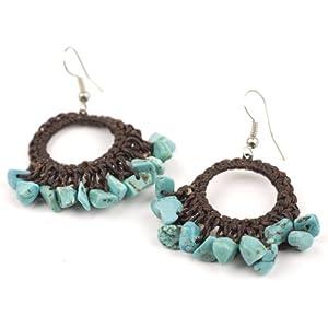 Gemstone turquoise hippie women hoop dangle earrings by 81stgeneration
