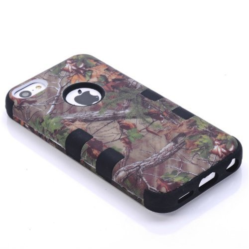 KINGCO 3in1 Real Tree Camo High Impact Armor Defender Case Combo for Apple iPhone 5 5S Black