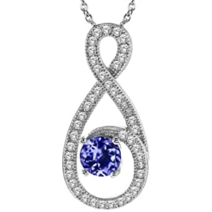"1.06 Ct Round Blue Tanzanite 925 Sterling Silver Pendant With 18"" Silver Chain"