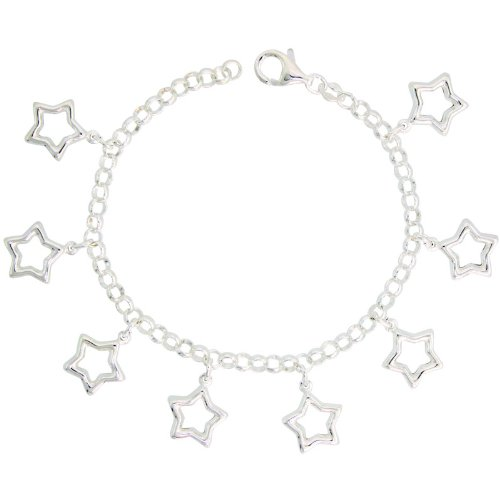 Sterling Silver Charm Bracelet w/ Puffy Stars Cut-Outs, 11/16