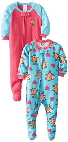 Gerber Baby-Girls Infant 2 Pack Girl Blanket Sleeper, Monkey, 24 Months front-253241