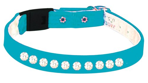 Pet Supply Imports - Turquoise Velveteen Jeweled Break Away Cat Collars Siz 10