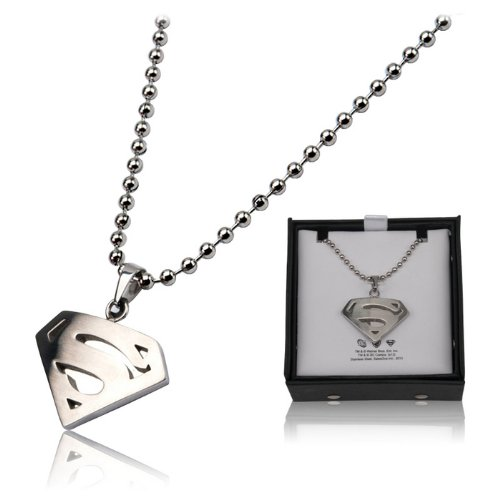 DC Comics Official License Superman Stainless Steel Diamond Shape Dog Tag Pendant with Ball Chain