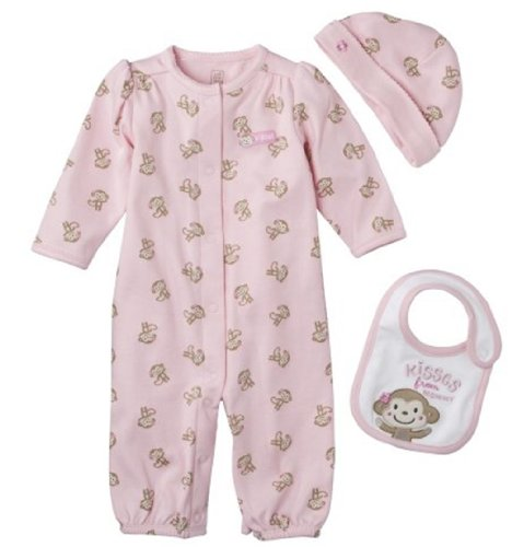 Newborn Girls Just One You By Carters 3Pc Monkey Gown Set (Pink - New Born) front-1049663