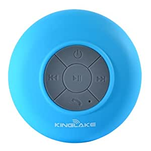 KINGLAKE® New Waterproof Wireless Bluetooth Shower Speaker Handsfree Speakerphone Compatible with All Bluetooth Devices iPhone 6 6Plus 5S 5S 4S Google Nexus 6 Samsung Galaxy Note Edge and All Android Devices (Blue)