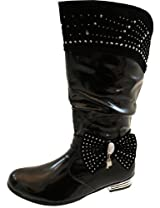 Girls Black Or Red Patent Leather Silver Sequins Heels Party Fancy Kids Long Boots Sizes UK 7-3