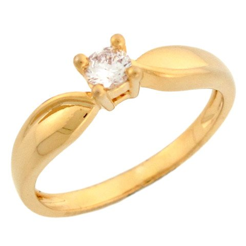 14k Yellow Gold Round CZ Lovely Design Engagement Ring