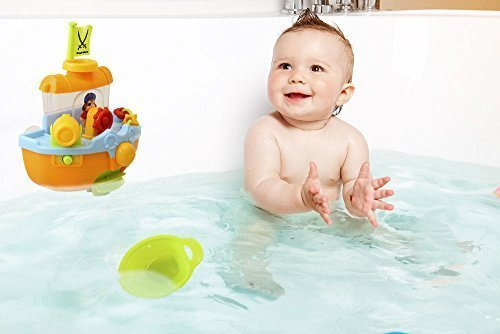 Wall-Mountable-Pirate-Ship-Bath-Tub-Toy-with-Water-Scoops-Moveable-Rudder-and-Paddle-and-Water-Cannon