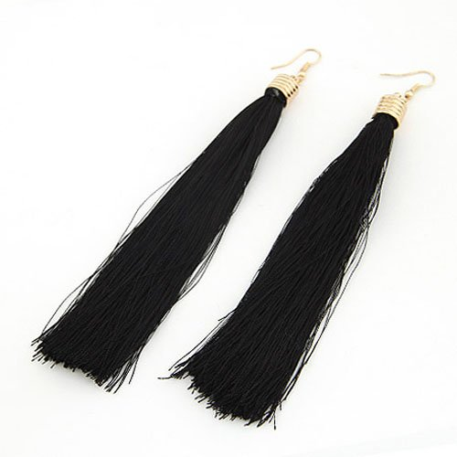 Cinderella Collection By Shining Diva Black Tassel Hanging Earrings For Women 6898er