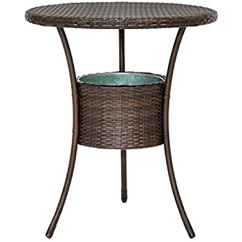 Best Choice Products 5-Piece Outdoor Patio Furniture Wicker Bistro Bar Table Set w/ Ice Bucket - Brown
