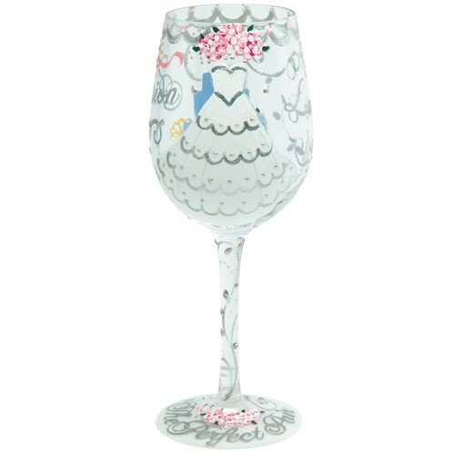 ''Enesco Designs by Lolita Bride Artisan Made Hand Painted Wine Glass, Wedding DRESS, 15 oz''