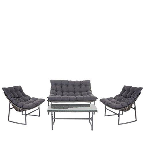 2-1-1-Poly-Rattan-Garten-Garnitur-Tunis-Sitzgruppe-Lounge-Set-Alu-anthrazit-Kissen-anthrazit