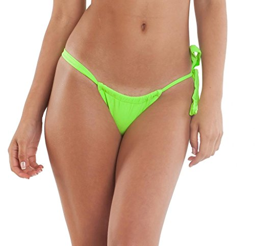 Coqueta Swimwear Carioca Brazilian Bikini Adjustable Bottom Neon Green Xlarge