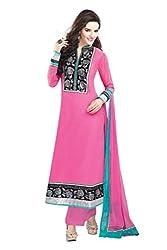 Nirali Women's Georgette Salwar Kameez Semistitched Dress Material - Free Size (Pink)